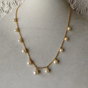 Ladies Avon Pearl Beaded Drop Beaded Necklace